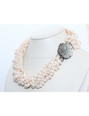 Girocollo da Donna 6 fili perle coltivate naturali - torchon con madreperla