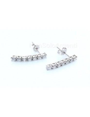 Argento 925  : coppia di orecchini donna tennis 7 zirconi da 1