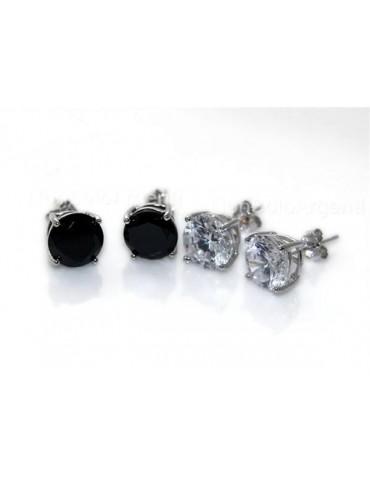 Argento 925 Italiano : orecchini uomo/donna punto luce perno e griffe zircone nero o bianco 8 mm 2 ct