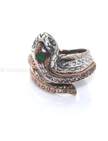 Argento 925 : Anello 2 colori  con serpente e zirconi  bianchi - Radice di smeraldo misura 19
