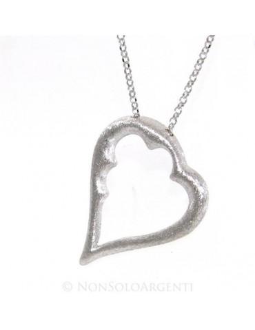Argento 925 : esclusiva collana donna realizzata a mano con cuore satinato grande