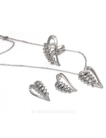 Argento 925 : esclusiva parure realizzata a mano con cuore bendato satinato