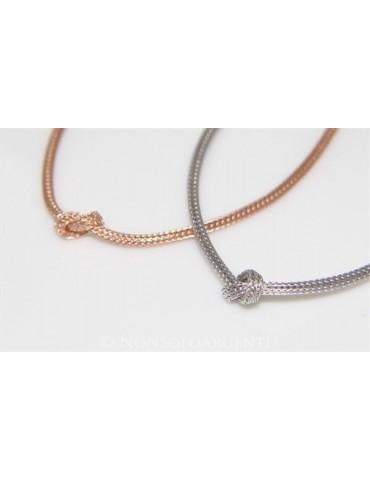 Argento 925 : Collana fox tail cavetto con nodo semplice per uomo e donna Oro Rosa