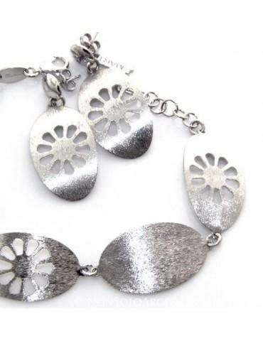 Argento 925 : esclusiva parure realizzata a mano con ovali pieni e taglio fiore