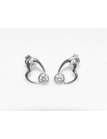 Argento 925 : orecchini donna punto luce zircone bianco cuore