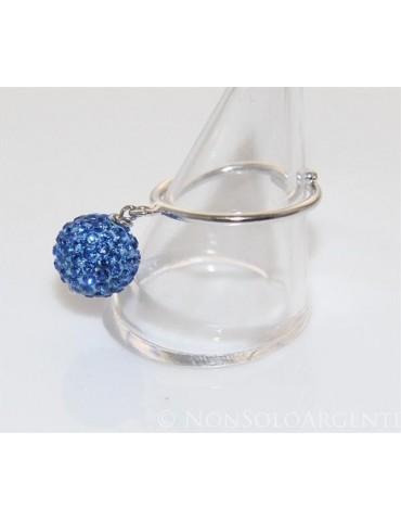 Argento 925 : Anello regolabile con ciondolo a sfera di zirconi bluette