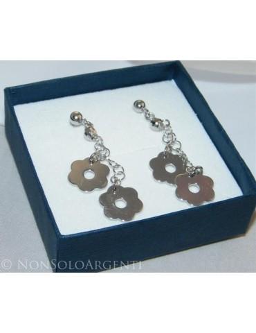 Argento 925 : orecchini donna pallina e farfallina ciondoli fiori lisci