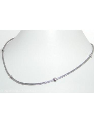 Argento 925 : Collana fox tail cavetto con 4 palline diamantate per uomo e donna