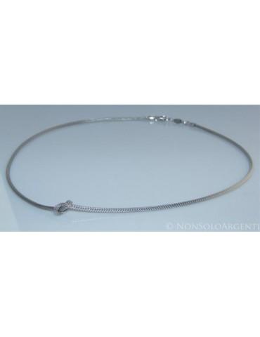 Argento 925 : Collana fox tail cavetto con nodo semplice per uomo e donna