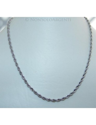 Acciaio : Collana uomo / donna Stainless Steel silver cavetto ritorta 50 cm x 4mm
