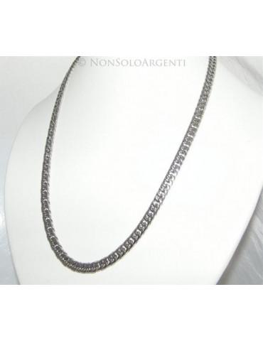 Acciaio : Collana uomo / donna Stainless Steel grumetta diamantata media 0.7 x 55 cm