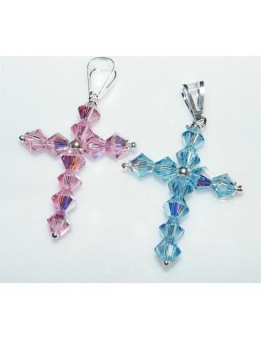 Argento 925 e Swarovski : collana con Ciondolo a croce con bicono in vari colori