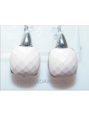 Argento 925 Italiano Rodiato : orecchini donna amo e sicurezza con pietra salmonata rosa sfaccettata