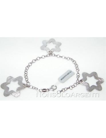 Argento 925 : bracciale con catena  rolo'  ciondoli grandi stelle satinate