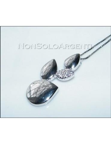 Argento 925 : Collana girocollo veneziana ciondolo Goccie con zirconi pavè