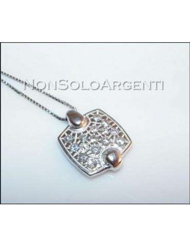 Argento 925 : Collana girocollo veneziana con ciondolo mattonella di zirconi . elegantissima !!!