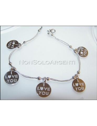 Argento 925 : bracciale con doppia catena a cavetto e medaglia I Love You