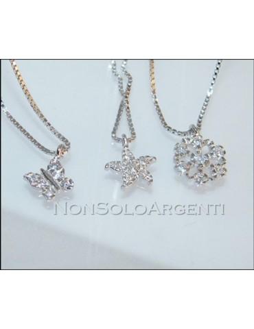 Argento 925 : Collana girocollo veneziana con ciondolo zirconi farfalla fiocco di neve e stella