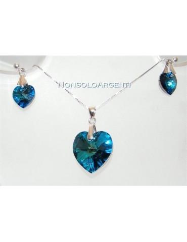 Collana o orecchini in argento 925 con ciondolo Cuore Capri Blue swarovski certificato