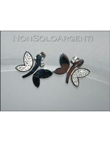 Orecchini Bigiotteria - lam Argento e rodiata. Farfalla a perno con zirconi
