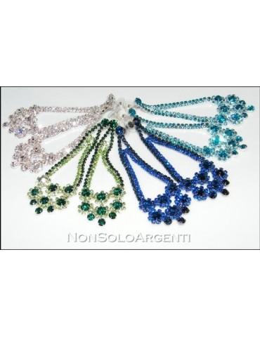 Bigiotteria : Orecchini colore Argento Chandelier Style con strass vari colori
