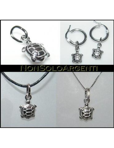 Argento 925 : Orecchini o collana con ciondolo tartaruga