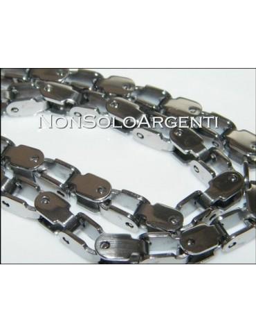 Acciaio : Collana uomo / donna Stainless Steel silver argentata maglia squadrata