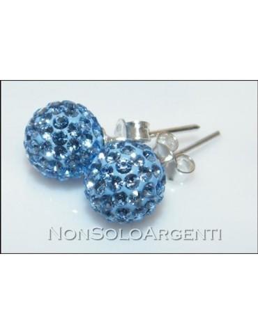 Argento 925 Rodiato : Orecchini al lobo con sfera di zirconia Azzurro sapphire