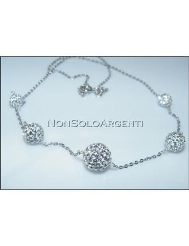Prezioso Girocollo rolo' in argento 925 sfere passanti di zirconi a gradazione