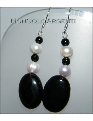 Argento 925 : Orecchini con ciondoli di perle naturali e agata nera e onice
