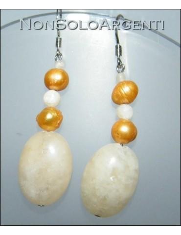 Argento 925 : Orecchini con ciondoli di perle naturali e calcite gialla