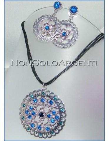 Bigiotteria : Parure laminata argento scuro strass blu elettrico