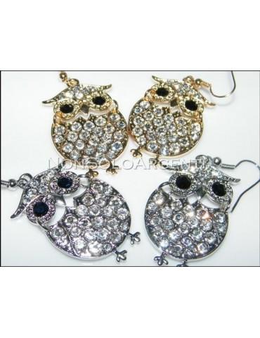 Bigiotteria : orecchini ad amo argento o oro con  gufo pavè di strass