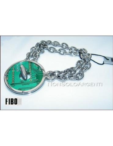 Bracciale Donna FIBO Stainless Steel Acciaio Chirurgico 316L Verde Ciondolo Tondo