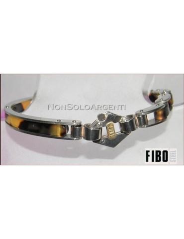 Bracciale Uomo FIBO mezza manetta tartaruga modulare Acciaio 316L punto oro