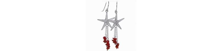 Categoria Coral Earrings - NonSoloArgenti : Orecchini donna Argento 925 anticato medaglia e ciuffo di corallo naturale , Orecchin...