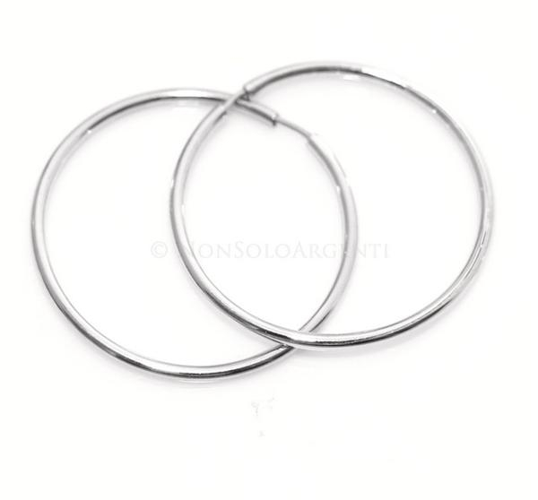 molti stili vendita calda online elegante Argento 925 : orecchini donna anelle cerchi lisci tubo varie misure