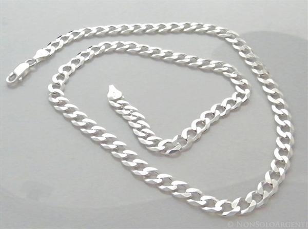 Raccogliere 62356 d9ace ARGENTO 925 : Collana o Bracciale uomo catena grumetta 6,5 mm massiccia  piena diamantata