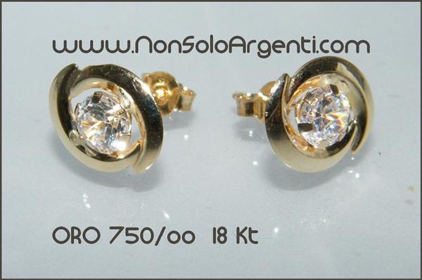 Punto Taglio Brillante 750ooOrecchini A Zirconi Occhio Luce Oro F3lJcTK1
