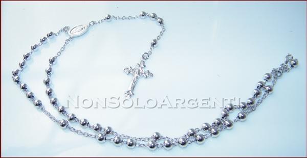 miglior servizio 4c9b4 b90d8 Argento 925 : Collana rosario a pallini grandi con immagine religiosa e  croce lavorata varie lunghezze