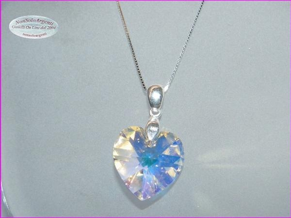 design di qualità d3ea3 0a245 Collana in argento 925 con ciondolo Cuore Crystal Bianco AB swarovski  certificato