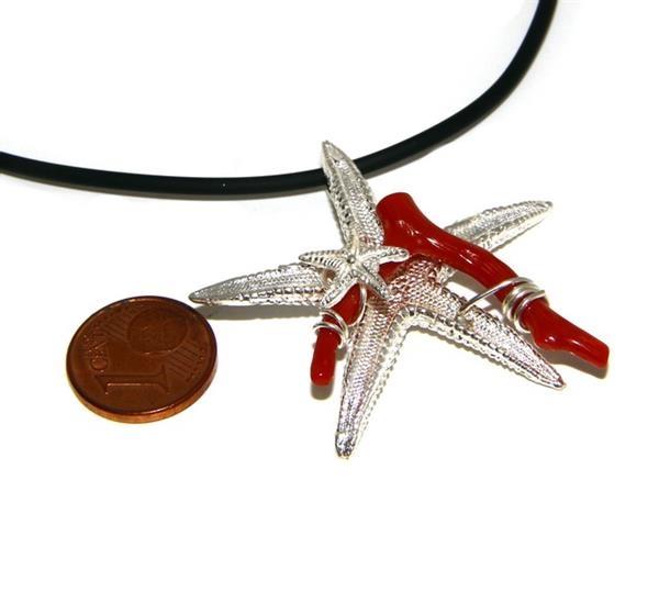 a70f445526e0ad Ciondolo donna linea Capri in argento 925 con corallo naturale stella  marina e laccio caucciu