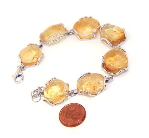 743764fd9d16f8 Bracciale donna in Argento 925 e pietre di citrino naturale giallo 30 gr