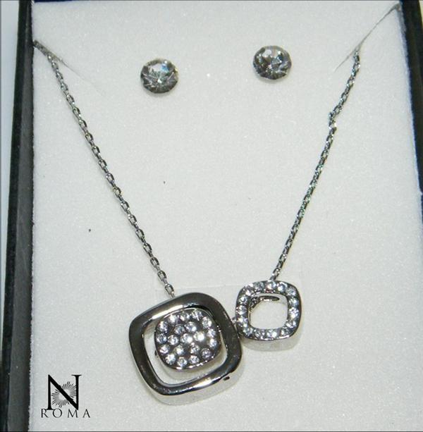 comprare popolare e37a3 d4d33 Bigiotteria : Collana o Parure Quadratini con girocollo 3 ciondoli e  orecchini punto luce e strass