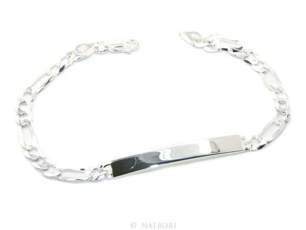 NALBORI Armband mit 925 Silber klar Plakette für Männer oder Frauen, mit 5  mm Figaro Kette vom Handgelenk Umfang   span Class   lüfte